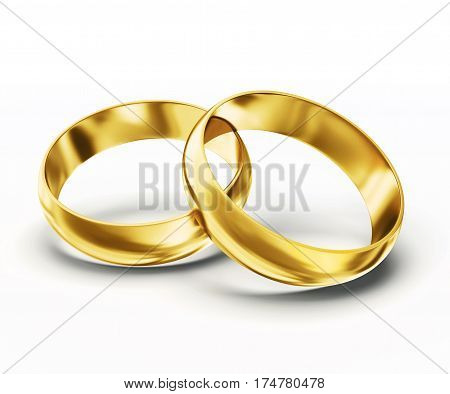 gold rings isolated on a white background 3d illustration