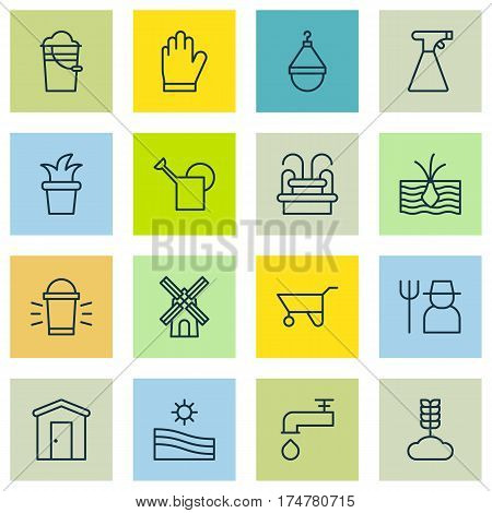 Set Of 16 Agriculture Icons. Includes Spigot, Growing Plant, Mill And Other Symbols. Beautiful Design Elements.