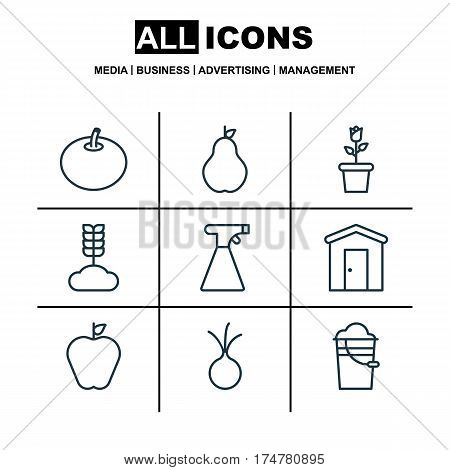 Set Of 9 Holticulture Icons. Includes Sprinkler, Taste Apple, Radish And Other Symbols. Beautiful Design Elements.
