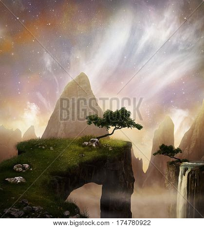 Fantasty landscape with beautiful cliffs and mountains. 3D rendering