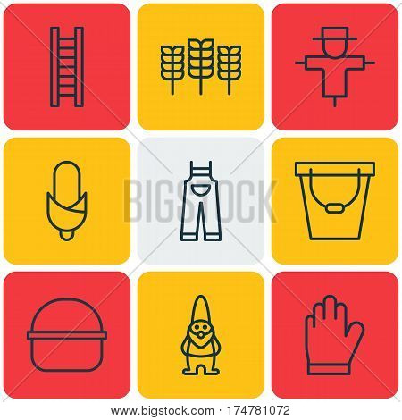 Set Of 9 Gardening Icons. Includes Garden Clothes, Protection Mitt, Maize And Other Symbols. Beautiful Design Elements.