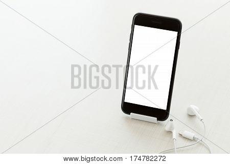communication phone mobile white screen on desk