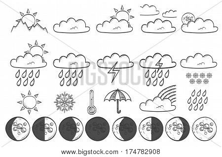 Weather hand drawn icon set - vector illustration