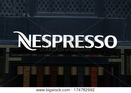 Nespresso On A Wall In Amsterdam