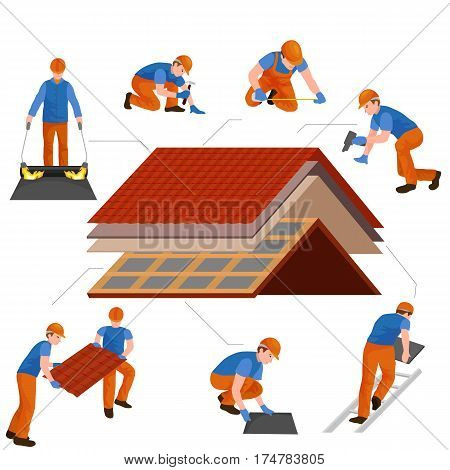 roof construction worker repair home, build structure fixing rooftop tile house with labor equipment, roofer men with work tools in hands outdoors renovation residential vector illustration. poster