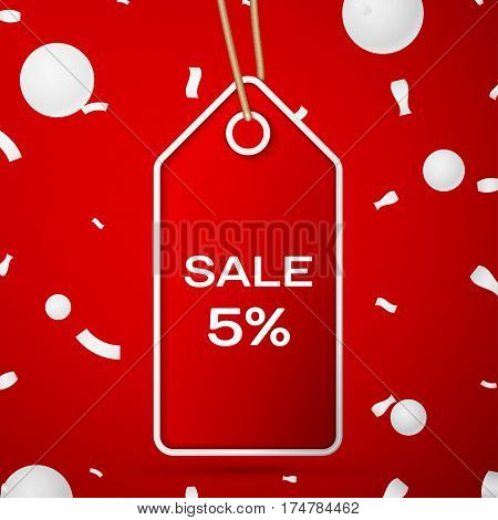 Red pennant with an inscription Big Sale five percent Discounts over a red background and confetti. Sale concept for shops store market, web and other commerce. Vector illustration