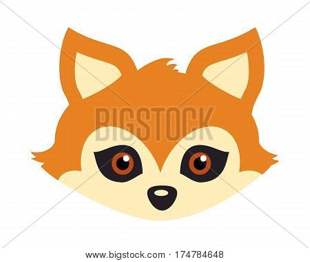 Fox animal carnival mask vector illustration in flat style. Red fox with triangular ears. Funny childish masquerade mask isolated on white. New Year masque for festivals, holiday dress code for kids