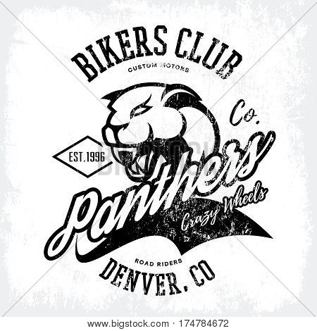 Vintage American furious panther bikers club tee print vector design isolated on white background.  Colorado, Denver street wear t-shirt emblem. Premium quality wild animal superior logo concept illustration.