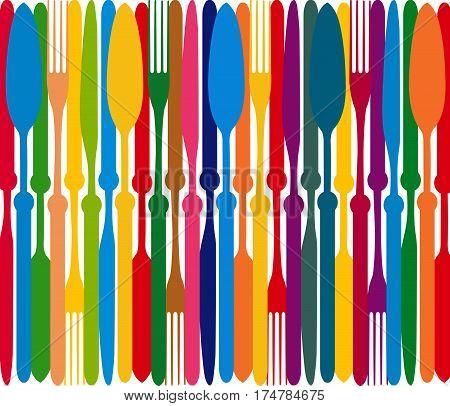 Menu vector.Stylish restaurant menu card design.Cutlery graphic design.Fork spoon and knife illustration.Dining color plate.