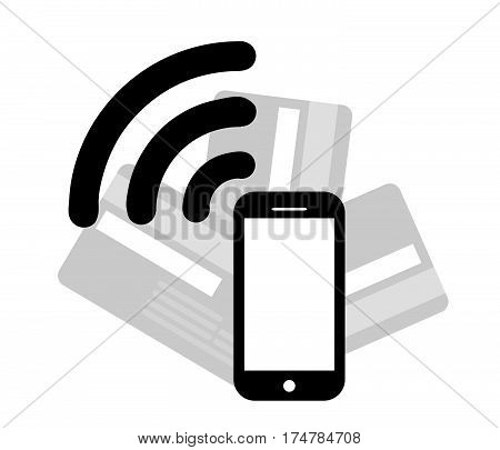 Mobile Payments.Credit Card Icon.Vector illustration of modern smartphone with processing of mobile payments from credit card.Pos terminal confirms the payment by debit credit card.