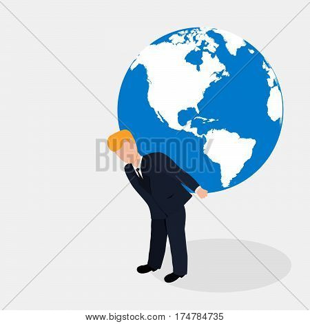 Man carrying the world illustration.Businessman holding the globe.Vector person holds atlas.