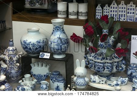 Delft Pottery In A Store In Amsterdam