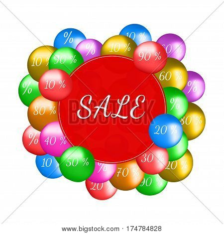 Creative Sale poster. Colorful ballons. Vector illustration