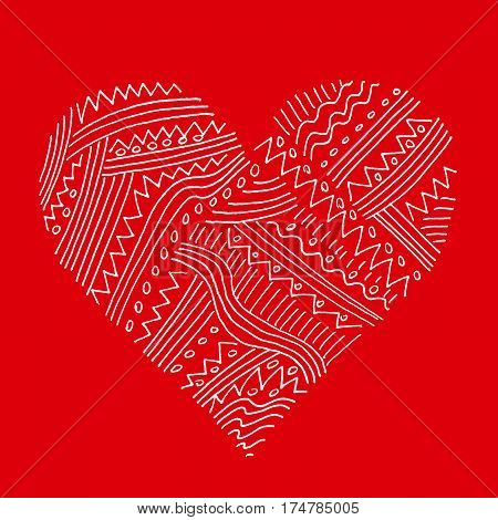 Abstract white pattern heart on red background