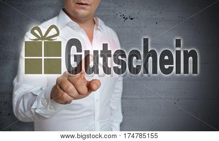 Gutschein (in German Voucher) Is Shown By Man Concept