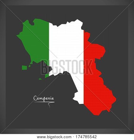 Campania Map With Italian National Flag Illustration