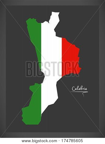 Calabria Map With Italian National Flag Illustration