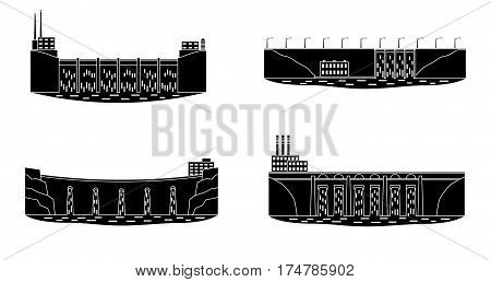 Set of hydro power station silhouette. Hydro electric power plant. Clean renewable water energy source concept. Vector illustration.