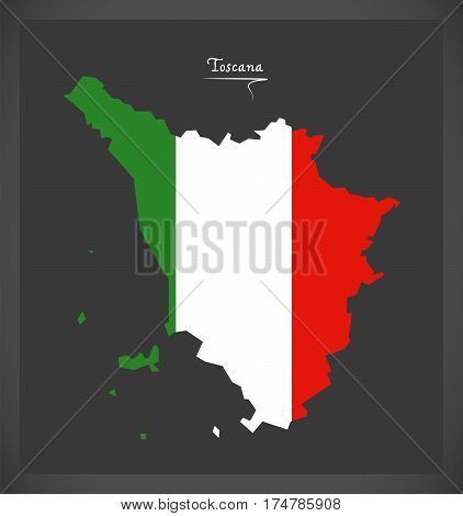 Toscana Map With Italian National Flag Illustration