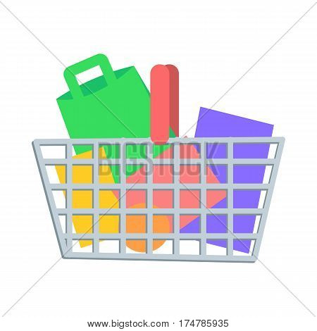 Shopping Basket full of paper bags and boxes flat vector illustration. Make purchases on seasonal sale in supermarket concept isolated on white background. For e-commerce and online shopping app icon