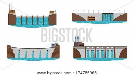 Set of hydro power station. Hydro electric power plant. Clean renewable water energy source concept. Vector illustration.
