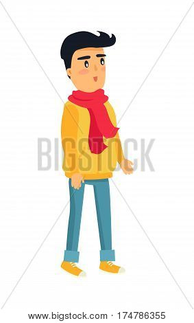 Little standing boy with black hair in yellow jacket, red scarf, jeans and warm shoes on white. Vector illustration of isolated surprised and attentive listener male child in warm winter clothes