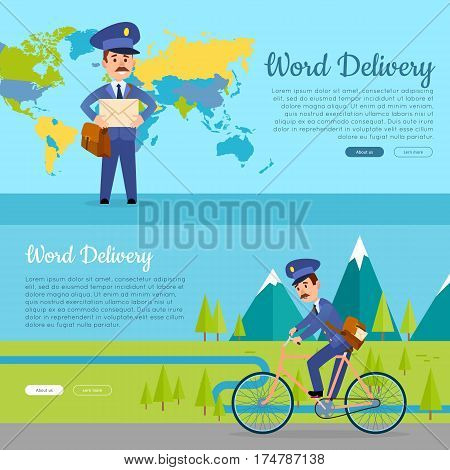 World delivery. Collection of two pictures with postman. Mailman in suit holding envelope stands near world map. Postman on bicycle rides on road near mountains. Cartoon design. Web banner. Vector