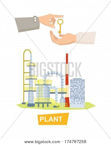 Plant vector illustration of buying or selling factory on white. Hand passing key to another hand. Sale purchase of big complicated factory. Realization of sale process, purchase in cartoon design
