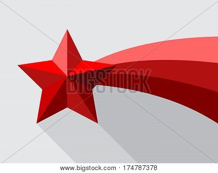 Red shooting star flat style design with swoosh