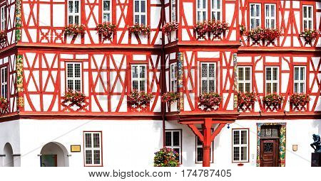 NASSAU, GERMANY-JUNE 07, 2015: Historical half-timbered building (1607-1609) - now Town Hall on the market square in Nassau, Germany