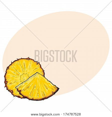Unpeeled round and wedge cut pineapple slices, sketch style vector illustration with place for text. Realistic hand drawing of fresh, ripe pineapple round slice and wedge, triangular piece
