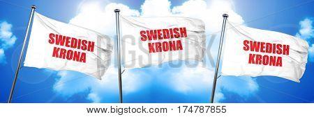 Swedish krona, 3D rendering, triple flags