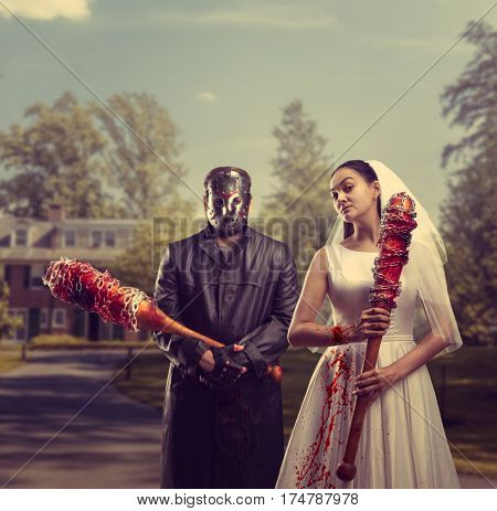 Bride and groom in hockey mask, maniac family