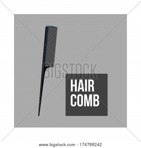 Traditional plastic black hairdresser comb, sketch style vector illustration isolated on grey background. Hair comb, hairdresser tool, object, attribute