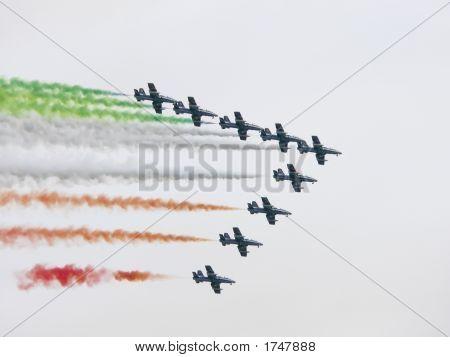 Plane Exhibiton Of The Frecce Tricolori