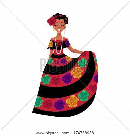 Mexican woman in traditional national dress decorated with embroidered flowers, cartoon vector illustration isolated on white background. Full length portrait of Mexican woman in national dress