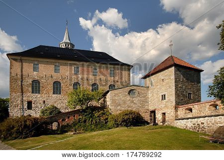 Medieval castle Akershus Fortress in OsloNorway. Akershus Fortress or Akershus Castle is a medieval castle that was built to protect Oslo