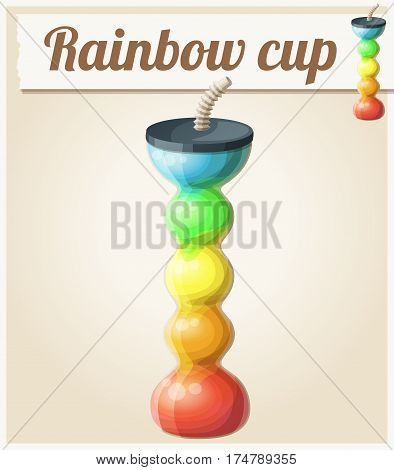 Rainbow ice cup Frozen drink unusual shape. Cartoon vector icon. Series of food and ingredients for cooking