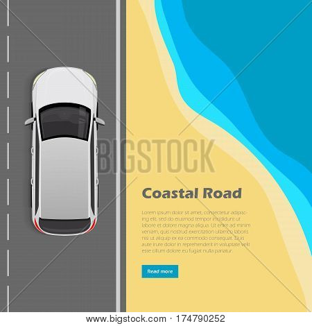 Coastal road conceptual web banner. Modern car goes on highway near ocean beach top view flat vector illustration. City infrastructure. Urban traffic. For transport, travel company landing page