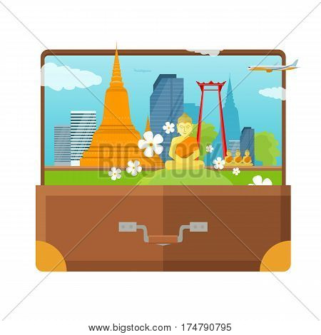 Thailand tourism poster design with attractions. Open suitcase with thai landmarks. Thailand landmark. Thailand travel poster design in flat. Travel composition with famous landmarks.
