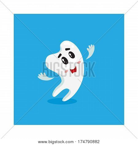 Cute and happy shiny white tooth character looking up, singing, dental care concept, isolated cartoon vector illustration. Happy singing tooth character, mascot, dental health care symbol