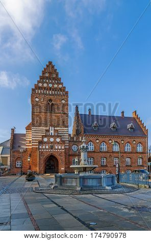 Town hal in Roskilde is 19th century building in Neo-gothic style. The Gothic tower the only remain of the St. Lawrence church built in the early 12th century and destroyed during the Reformation.
