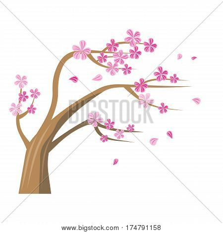 Sakura Tree with pink flowers. Vector tree icon. Tree forest, leaf tree isolated, tree branch nature, plant eco branch tree, organic natural wood illustration. Sakura icon. Cherry tree icon.