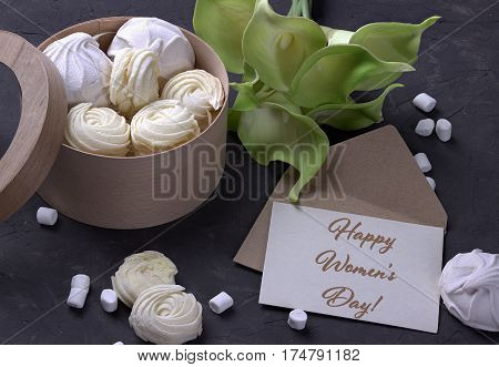 Bouquet Of Green Yellow Callas With Marshmallows In A Wooden Round Box On A Gray Wooden Background A