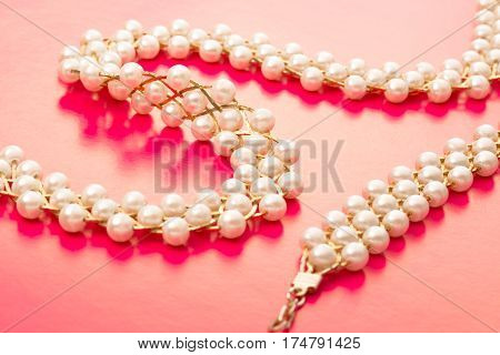 Necklace And Wristband With White Beads