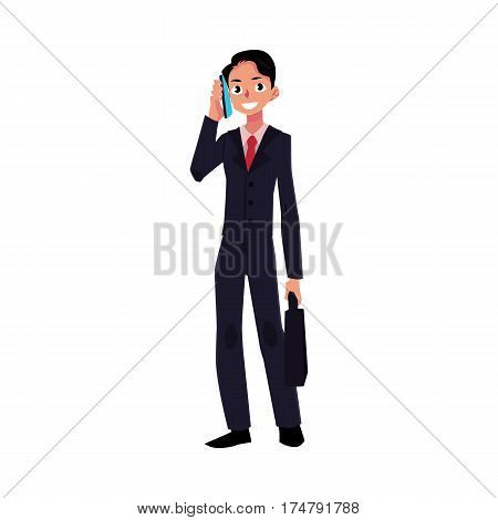 Young businessman standing, talking by mobile, cell phone, holding briefcase, cartoon vector illustration isolated on white background. Businessman, worker, employee talking by phone