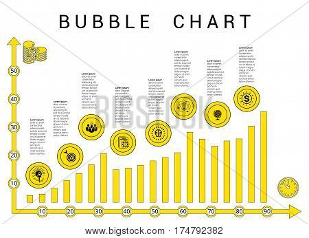 Vector template bubble chart yellow black diagramme on white background.