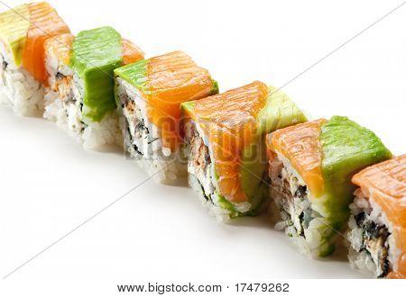 Rainbow Maki Sushi - Roll with Eel and Cream Cheese inside. Tuna, Salmon and Avocado outside