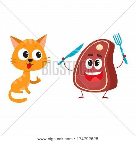 Funny red cat, kitten character looking at meat, steak holding fork and knife, cartoon vector illustration isolated on white background. Funny red cat, kitten character and piece of steak