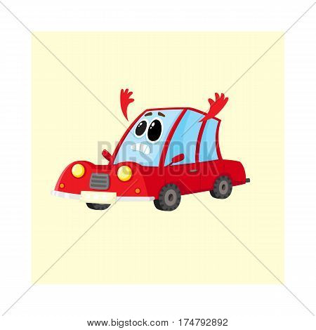 Funny red car, auto character flinging up its arms in dismay, despair, horror, cartoon vector illustration isolated on white background. Red car character, mascot with human face sad, showing despair